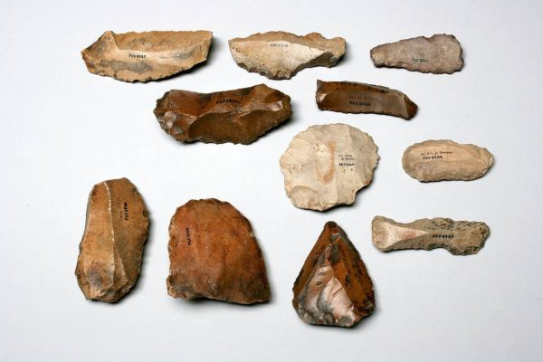 A selection of prehistoric flint tools collected by C. Leonard Woolley and T.E. Lawrence during the 'Wilderness of Zin' Survey.